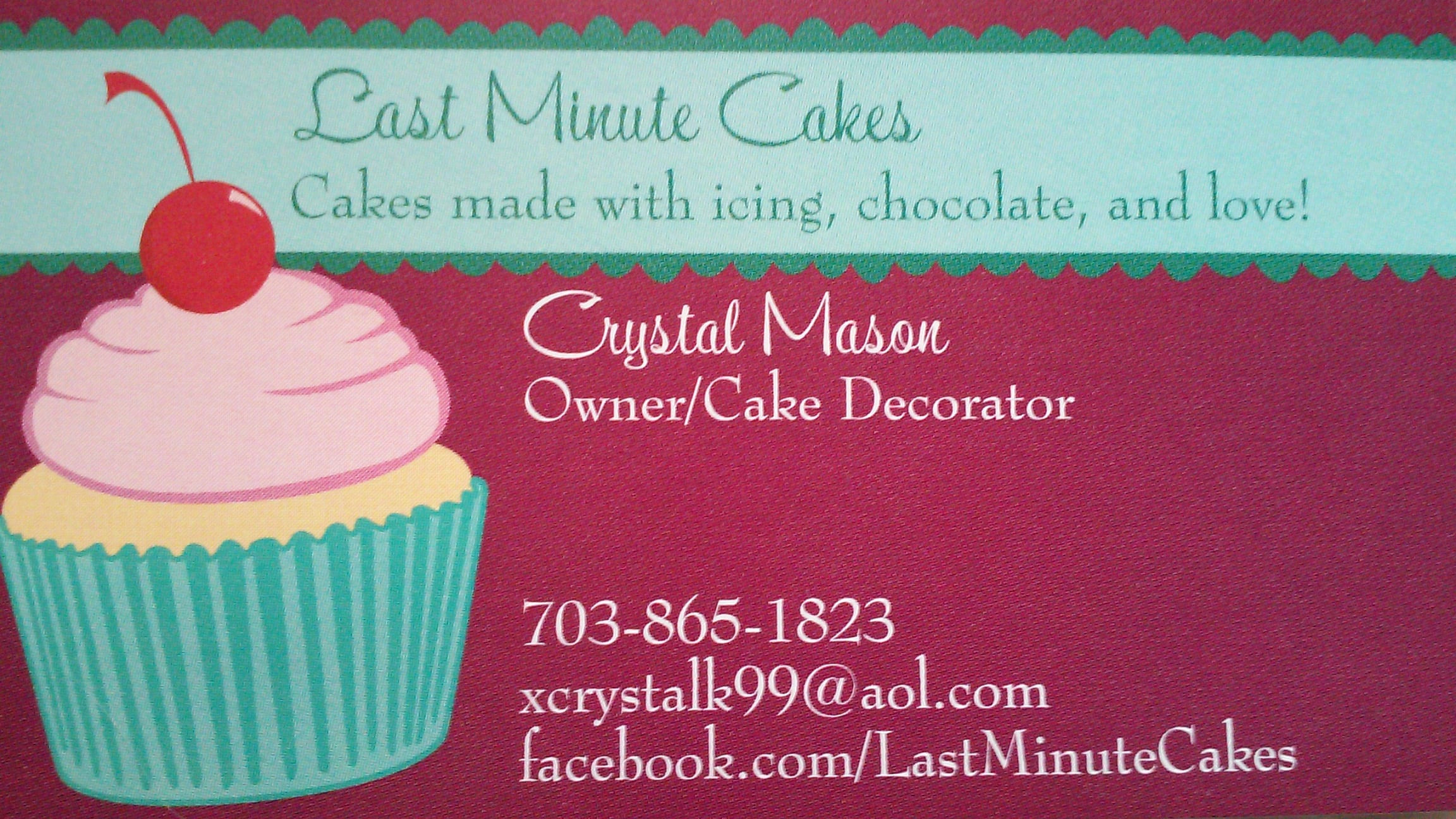 Last Minute Cakes Business Card A Forever Home Rescue Foundation